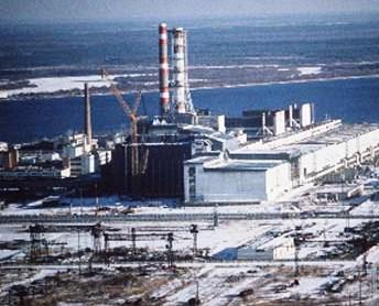 Central nuclear de Chernobil, vista aerea