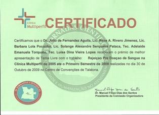 Premio otorgado al Dr Julio Fernández