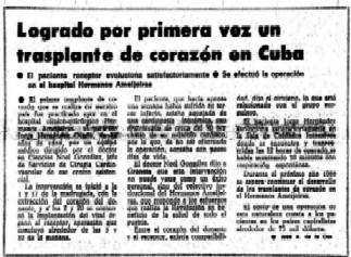 Primer trasplante de corazon en Cuba
